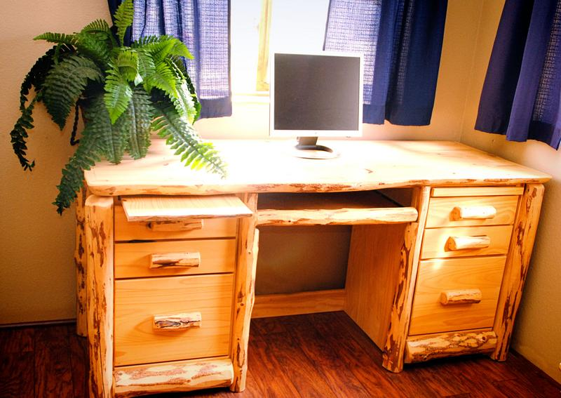 handcrafted log office furniture
